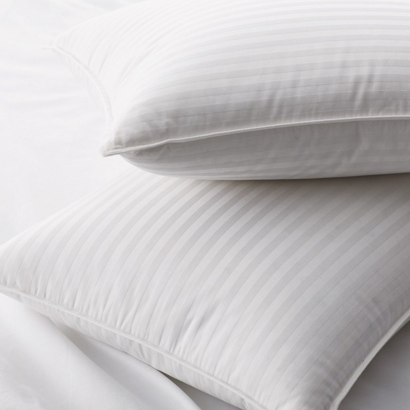 1cmのダマスク織の縞模様の生地が付いている枕の下の90%の白いアヒル