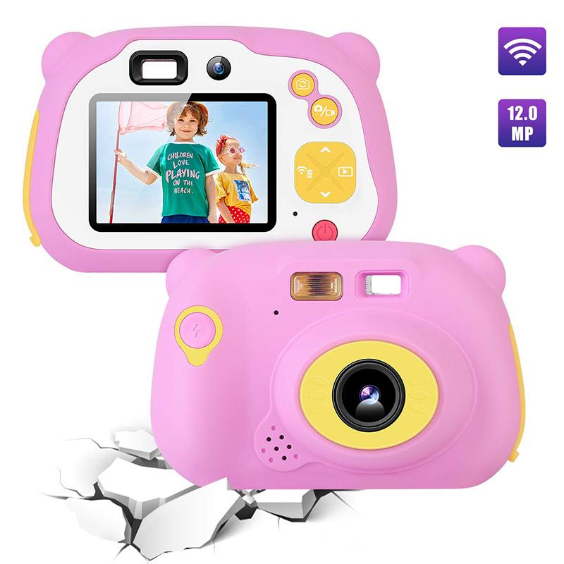 キッズカメラ8.0MP充電式デジタルフロントとリアSelfieカメラ子カムコーダー、おもちゃギフト4  -  10年歳の男の子と女の子