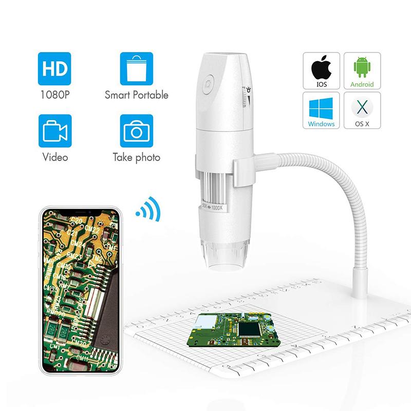 WiFi顕微鏡50倍から1000倍ワイヤレスデジタル顕微鏡、1080P HD 2.0 MP 8 LEDカメラ付きフレキシブルアーム観察スタンド、Android iOS PC用ミニハンドヘルド顕微鏡