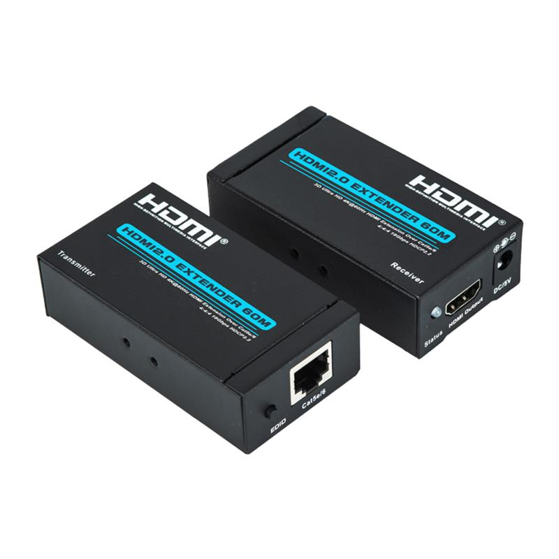 V2.0 HDMIエクステンダー60m over単一cat5e / 6ケーブルサポートUltra HD 4Kx2K @ 60Hz HDCP2.2