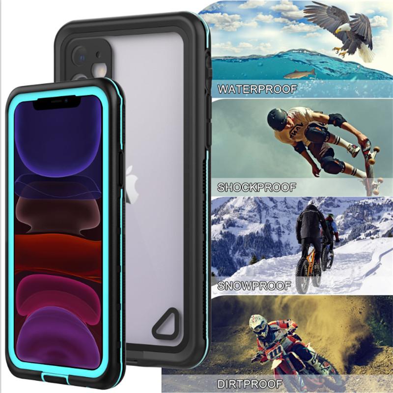新しいPC + TPE +ペット防水防塵防雪電話アクセサリーケースiphone 11(ブルー)透明バックカバー