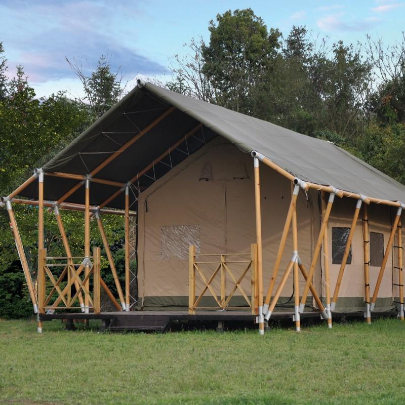木製構造キャンバスキャンプグランピングテント